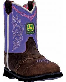 John Deere Toddler Girls' Johnny Popper Violet Western Boots - Square Toe
