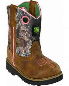John Deere Toddler Girls' Johnny Popper Camo Western Boots - Square Toe