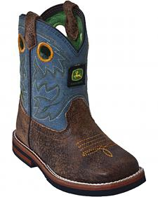 John Deere Toddler Boys' Johnny Popper Blue Western Boots - Square Toe
