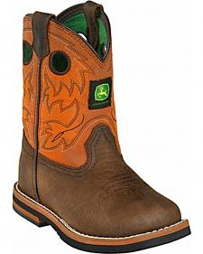 John Deere Toddler Boys' Johnny Popper Orange Western Boots - Square Toe