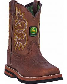 John Deere Toddler Boys' Johnny Popper Cinnamon Western Boots - Square Toe