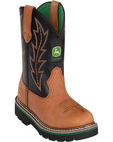 John Deere Boys' Johnny Popper Tuff Tred Western Boots - Round Toe