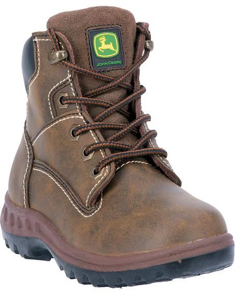 John Deere Boys' Leather Lace-up Work Boots