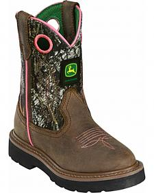 John Deere Girls' Johnny Popper Camo Western Boots - Round Toe