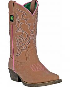 John Deere Girls' Johnny Popper Leather Western Boots - Snip Toe