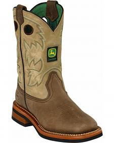 John Deere Boys' Johnny Popper Tan Western Boots - Square Toe