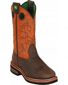 John Deere Boys' Johnny Popper Orange Western Boots - Square Toe