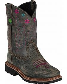 John Deere Girls' Johnny Popper Black Leather Western Boots - Square Toe