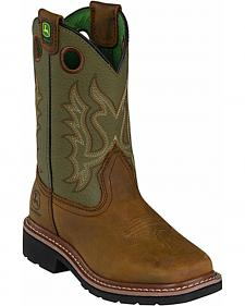 John Deere Boys' Johnny Popper Olive Western Boots - Square Toe