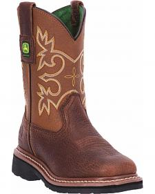 John Deere Boys' Johnny Popper Mesquite Western Boots - Square Toe