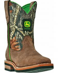 John Deere Boys' Johnny Popper Camo Western Boots - Square Toe
