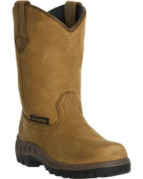 John Deere Boys' Johnny Popper Waterproof Western Boots - Round Toe
