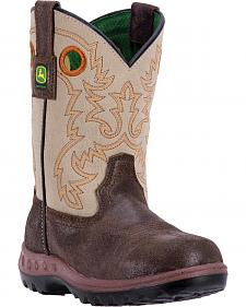 John Deere Boys' Johnny Popper Waterproof Camo Western Boots - Round Toe