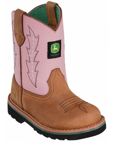 John Deere Youth Girls' Johnny Popper Pink Western Boots - Round Toe