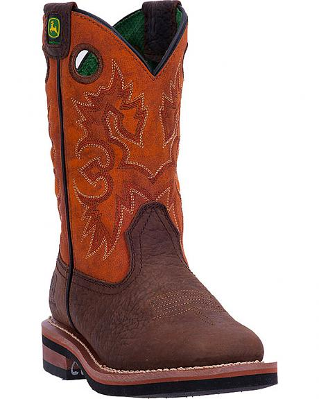 John Deere Youth Boys' Johnny Popper Rust Western Boots - Square Toe