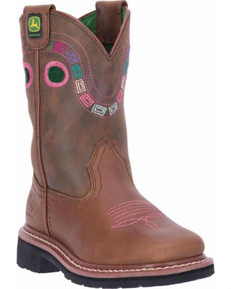 John Deere Youth Girls' Johnny Popper Colorful Western Boots - Square Toe