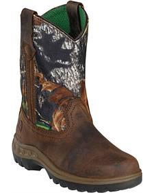 John Deere Youth Boys' Johnny Popper Waterproof Camo Western Boots - Round Toe