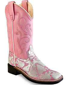 Old West Girls' Pink and Silver Western Boots - Square Toe