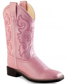 Old West Girls' Pink Western Boots - Square Toe