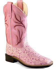 Old West Girls' Pink Scroll Western Boots - Square Toe