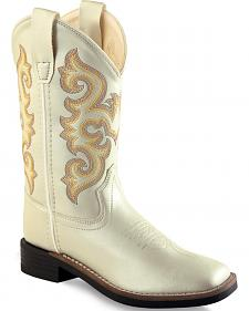 Old West Girls' White Western Boots - Square Toe