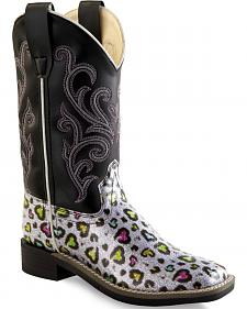 Old West Girls' Multi-Color Heart Western Boots - Square Toe