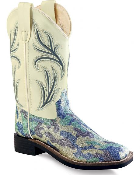 Old West Girls' Blue Camo Western Boots - Square Toe