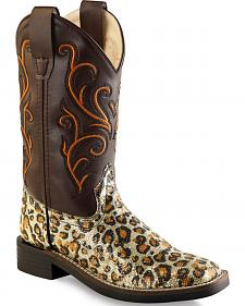 Old West Girls' Leopard Print Western Boots - Square Toe