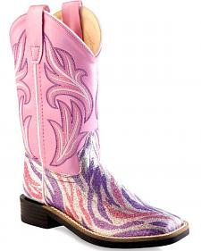 Old West Girls' Pink and Purple Western Boots - Square Toe