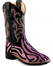 Old West Girls' Pink Zebra Design Western Boots - Square Toe