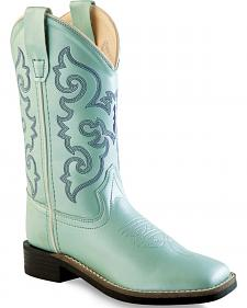 Old West Girls' Light Blue Western Boots - Square Toe