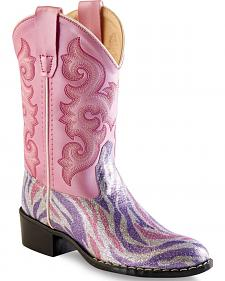 Old West Girls' Pink and Purple Zebra Stripe Western Boots - Round Toe
