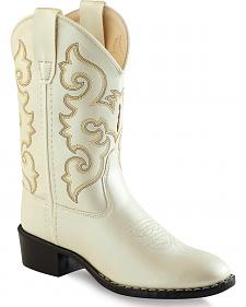 Old West Girls' Ivory Western Boots - Round Toe