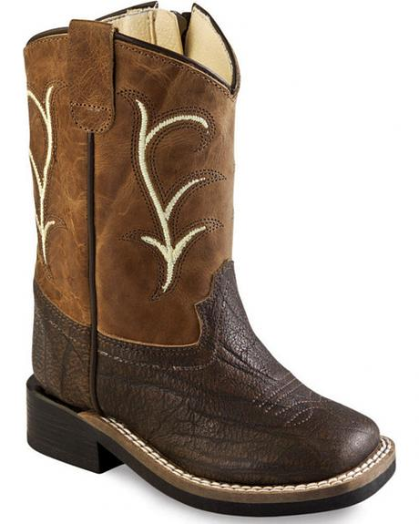 Old West Toddler Boys' Brown Leather Boots - Square Toe