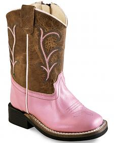 Old West Toddler Girls' Pink Leather Boots - Square Toe