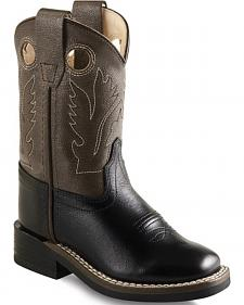 Old West Toddler Boys' Charcoal and Black Western Boots - Square Toe