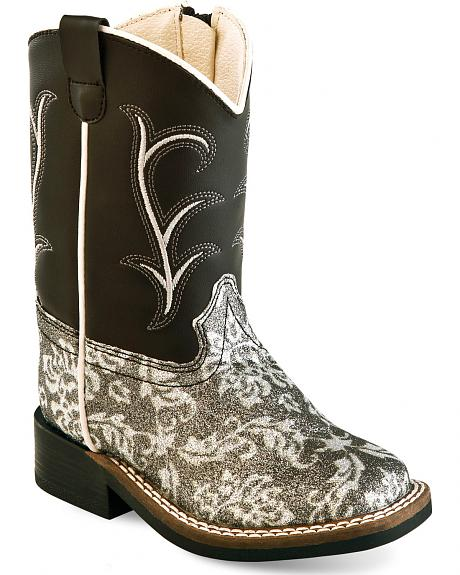Old West Toddler Girls' Black and Charcoal Western Boots - Square Toe