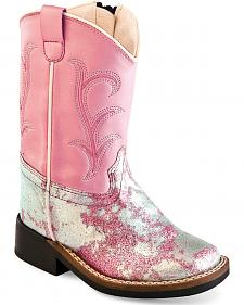 Old West Toddler Girls' Pink and Silver Western Boots - Square Toe