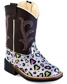 Old West Toddler Girls' Colorful Hearts Western Boots - Square Toe