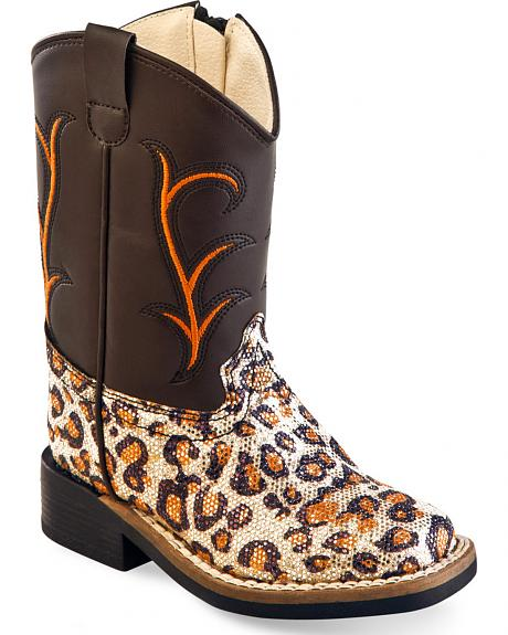 Old West Toddler Girls' Leopard Print Western Boots - Square Toe