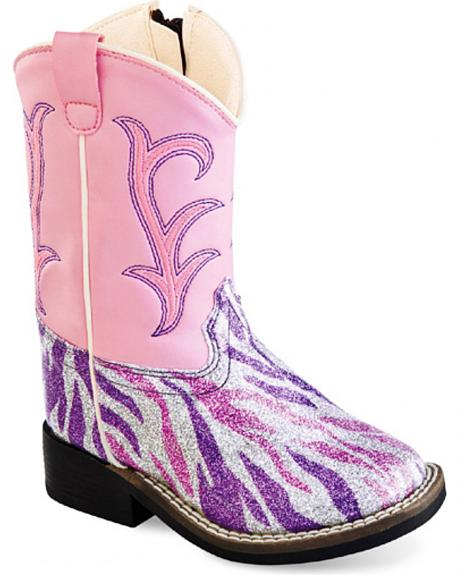 Old West Toddler Girls' Pink and Purple Western Boots - Square Toe