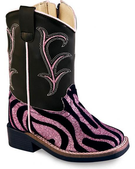 Old West Toddler Girls' Pink and Black Western Boots - Square Toe