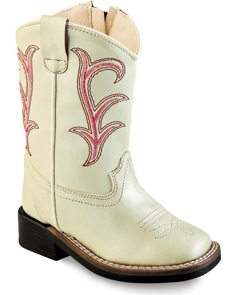 Old West Girls' Toddler White Western Boots - Square Toe