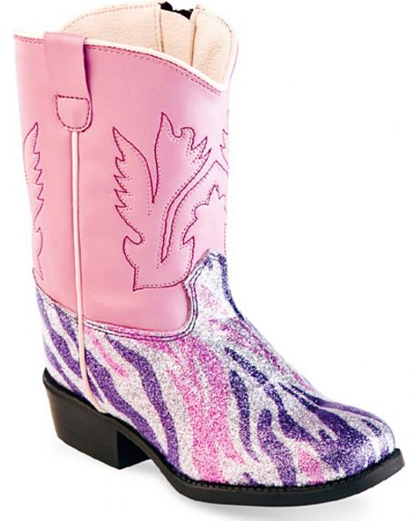 Old West Toddler Girls' Pink and Purple Zebra Western Boots - Square Toe