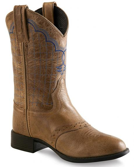 Old West Tan Youth Western Boots - Round Toe