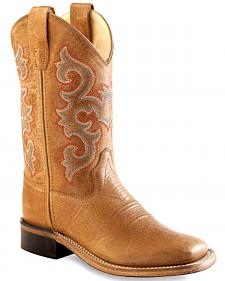 Old West Tan Youth Cowboy Boots - Square Toe