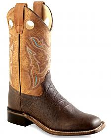 Old West Boys' Youth Brown Cowboy Boots - Square Toe