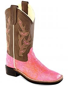 Old West Youth Girls' Sparkling Pink Western Boots - Square Toe