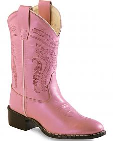 Old West Girl Childrens' Pink Western Boots - Round Toe