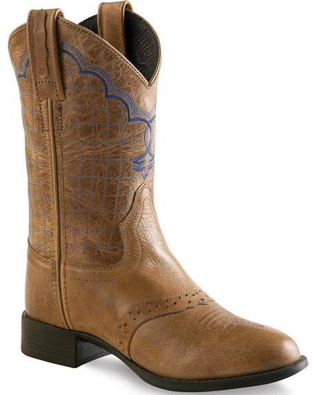 Old West Tan Boys' Western Boots - Round Toe